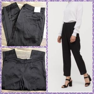 New H&M Black Ankle Slacks Work Date Night Sz 14